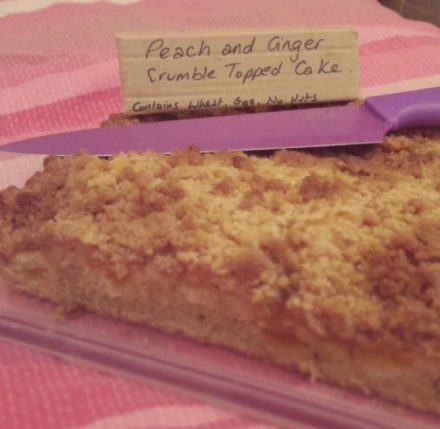 Peach and Ginger Crumble Cake by Chloe Edges