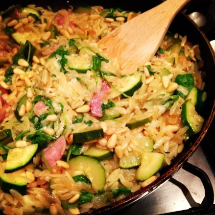 Orzo with Courgettes, Pine Nuts and Bacon
