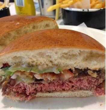 The inside of the Byron Burger: medium rare