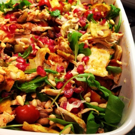 Roast Chicken and Bread Salad with Harissa, Pine Nuts and Pomegranate Seeds