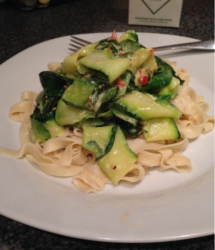 Tagliatelle with Courgettes, Chilli and Parmesan