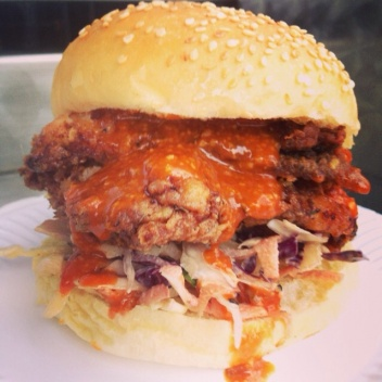Buttermilk fried chicken bap with slaw and Korean hot sauce