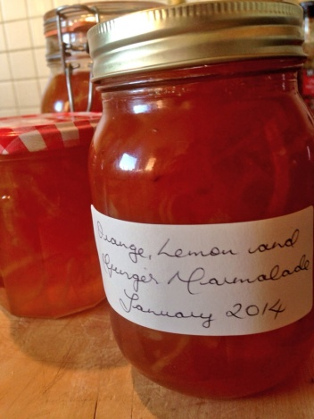 The first batch of orange, lemon and ginger marmalade