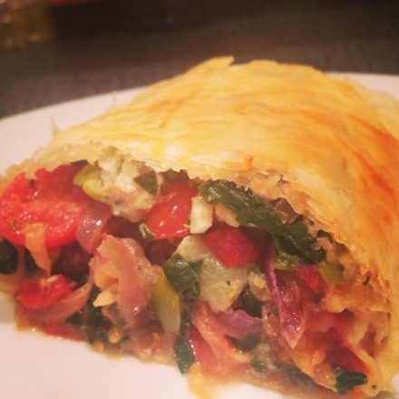 Smoked aubergine, red pepper and spinach strudel