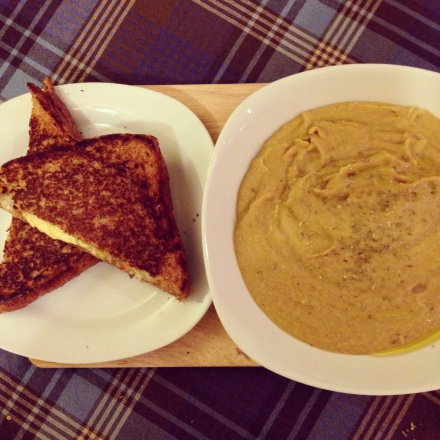 Grilled cheese sandwich with mango chutney and red chilli, curried parsnip soup
