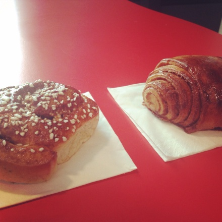 Central London's finest:  Scandinavian Kitchen cinnamon bun (left) and The  Nordic Bakery cinnamon bun (right)