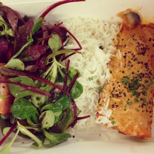 Lunch from Gitane, Great Titchfield Street:  harissa and yoghurt marinated salmon with rice and salad