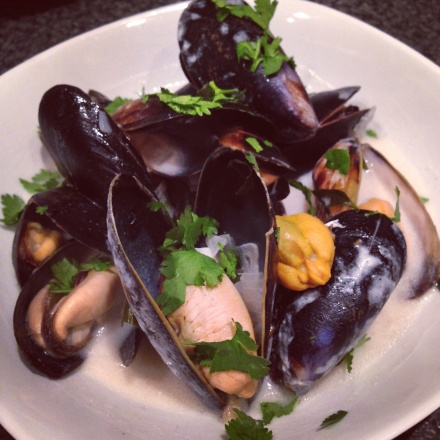 Mussels with Punk IPA, curry leaves and coconut milk
