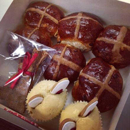 Hot cross buns, garibaldi bunnies, Easter cupcakes