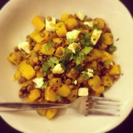 Warm butternut squash and lentil salad with feta and walnuts