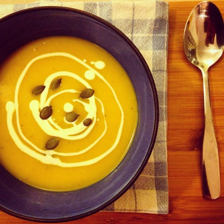 Butternut squash, curry and cider soup