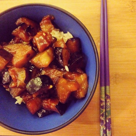 Miso aubergines and brown rice. Chopsticks from my trip to Tokyo